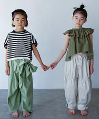 【 folk made 2020SS 】#12 pants with ribbon / pale green / LL(140-155)