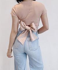 【FITTING】シンプルバックリボンリブTシャツ