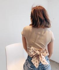 SVモノグラムバックリボンリブTシャツ