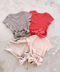 シンプルバックリボンリブTシャツ
