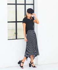プリーツストライプアシメスカート