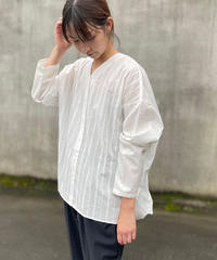 mizuiroind(ミズイロインド)フロントレースVネックワイドシャツ 11.wht stripe