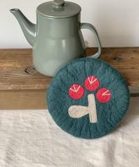 TEA POT&羊毛フェルトPOTマットセット〔ポットグリーン〕