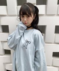 いたずら天使のオーバーサイズロングTシャツ【くすみブルーのみ3月末発送】