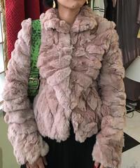 ヴィンテージ グレイッシュピンク ファーコート