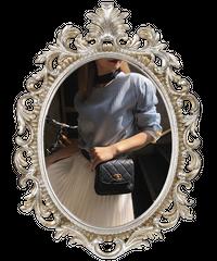 【pour Mademoiselle】バイカラーオープンネックブラウス ライトブルー
