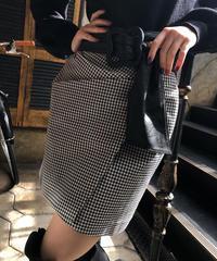 【pour Mademoiselle】ギンガムチェックタイトミニスカート ブラック
