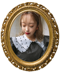 【pour Mademoiselle】ドットオーガンジー付け襟 ホワイト