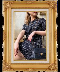 【pour Mademoiselle】ツイードチェックパールボタン半袖ワンピース ブラック
