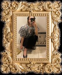【pour Mademoiselle】チェック柄オーガンジーブラウス ブラック