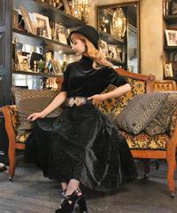 【pour Mademoiselle】ベロアフラワーパターンスカート ブラック