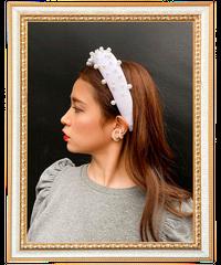 【pour Mademoiselle】ベロアパールカチューシャ ホワイト