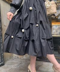 【pour Mademoiselle】ポイントパールボリュームスカート ブラック