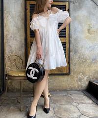 【pour Mademoiselle】オープンショルダー刺繍ワンピース ホワイト