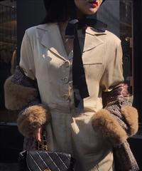 【pour Mademoiselle】デザインジャンプスーツ ベージュ