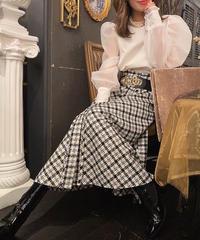【pour Mademoiselle】シアーフリルネックブラウス ホワイト
