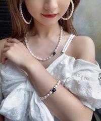 【pour Mademoiselle】フェイクパールカラーストーンネックレス ブルー/イエロー