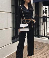 【pour Mademoiselle】デザインジャンプスーツ ブラック