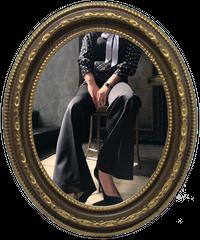 【pour Mademoiselle】センタープレスパンツ ブラック