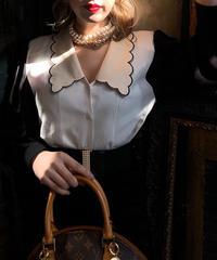 【pour Mademoiselle】スカラップバイカラーブラウス アイボリー