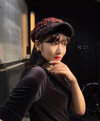 【pour Mademoiselle】ツイードチェックキャスケット レッド