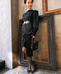 【pour Mademoiselle】アシンメトリーデザインワンピース ブラック