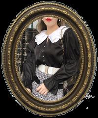 【pour Mademoiselle】襟刺繍パールブラウス ブラック