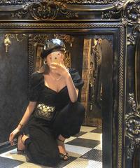 【pour Mademoiselle】パフスリーブトップス×アンクルパンツセットアップ ブラック