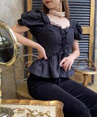 【pour Mademoiselle】刺繍レースブラウス ブラック