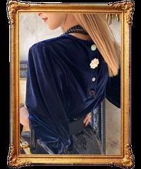 【pour Mademoiselle】バックマルチボタンベロアプルオーバー ネイビー