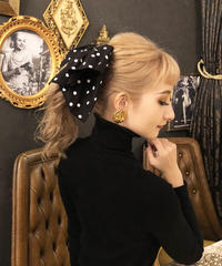 【pour Mademoiselle】ドットリボンバレッタ ブラック