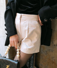【pour Mademoiselle】ベロアショートパンツ ホワイト