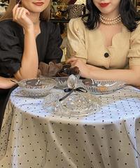 【pour Mademoiselle】スカラップフロントボタンワンピース ベージュ