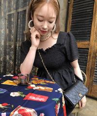 【pour Mademoiselle】シャーリングペプラムトップス ブラック