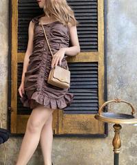 【pour Mademoiselle】ギャザーフロントボタンミニワンピース ブラウン