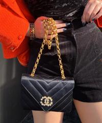 【pour Mademoiselle】ベロアショートパンツ ブラック