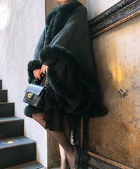 【pour Mademoiselle】ロングファーポンチョ ダークグリーン