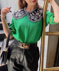 【pour Mademoiselle】刺繍スカラップ付け襟 ブラック