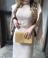 【pour Mademoiselle】デザインネックジャケットワンピース ベージュ