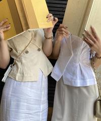 【pour Mademoiselle】パフスリーブジャケット  ホワイト