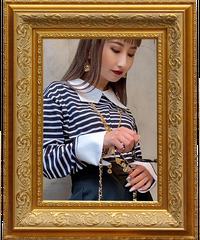 【pour Mademoiselle】襟付きボーダートップス ブラック