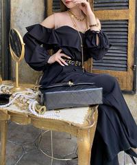 【pour Mademoiselle】シースルーオープンショルダートップス ブラック