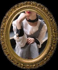 【pour Mademoiselle】バイカラーオープンネックブラウス ホワイト