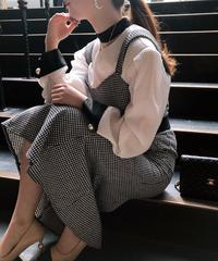 【pour Mademoiselle】千鳥格子デザインワンピース ブラック