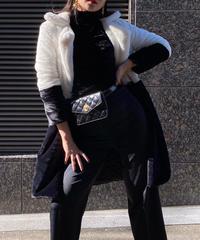 【pour Mademoiselle】バイカラーファーコート ブラック/ホワイト