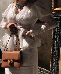【pour Mademoiselle】パフスリーブハイウエストブラウス ホワイト