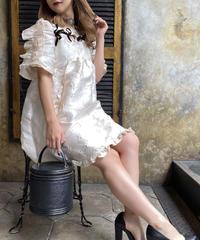 【pour Mademoiselle】ベロアリボン刺繍フリルワンピース アイボリー