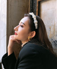 【pour Mademoiselle】パールカチューシャ ブラック