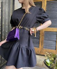 【pour Mademoiselle】襟付きパフショルダーワンピース ブラック