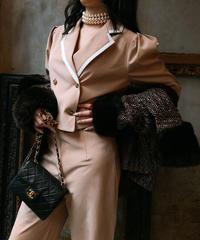 【pour Mademoiselle】パイピングジャケットセットアップ ベージュ